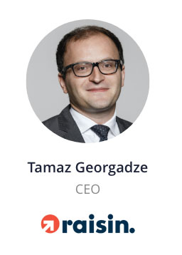 Tamaz Georgadze, CEO of raisin speaking at the NOAH Conference Berlin 2020